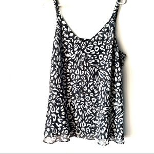 Cabi Blue and White Button Up Flowy Tank Top